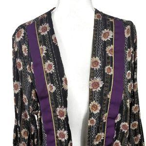 Vintage Sweaters - Vintage Black Daisy Printed Cardigan